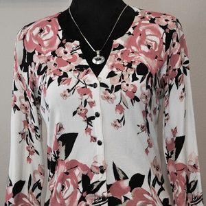 White House Black Market Sweaters - White House Black Market Floral Cardigan Sz M